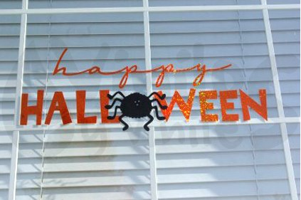Vinil decorativo de happy Halloween con araña